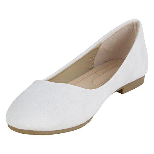 Stiefelparadies Klassische Damen Ballerinas Flats Leder-Optik Lack Metallic Schuhe Glitzer Slipper Slip Ons Übergrößen Abiball Flandell Grau Camiri