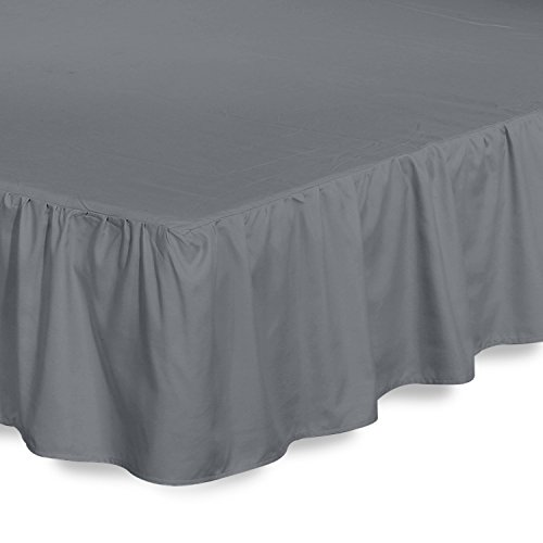Best Buy! Bed Ruffle Skirt (Queen, Grey) Brushed Microfiber Bed Wrap with Platform - Easy Fit Gather...