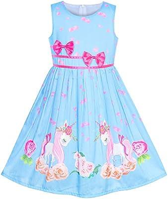 Sunny Fashion Girls Dress Navy Blue Flower Belt Vintage Party Sundress Size 6-14