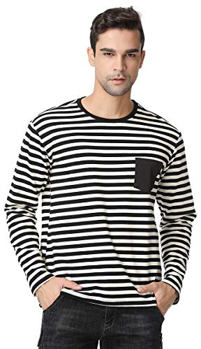 GUXITE Men's Striped Casual Pullover Basic Round Neck Long Sleeve T-Shirt Pure Black Pocket (Black-White, Large) (Orange And White Striped Long Sleeve Shirt)