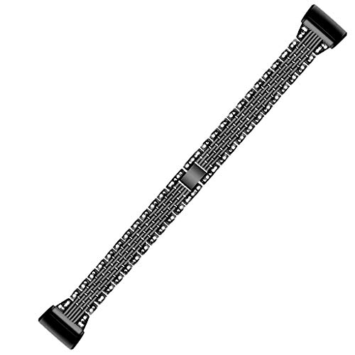 AHAYAKU Bling Stainless Steel Metal Bracelet Strap Band for Fitbit Charge 3 Smart Watch Chevy Metal Band Watch