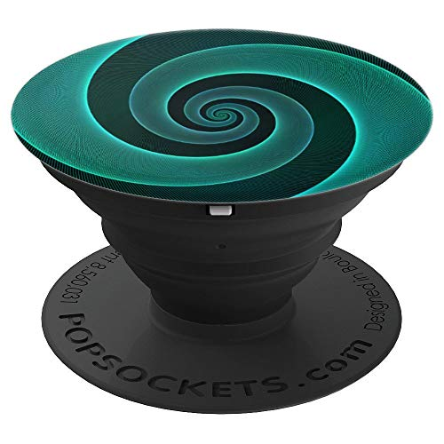 Green Fractal Spiral Rope Design on a Dark Green Background - PopSockets Grip and Stand for Phones and Tablets