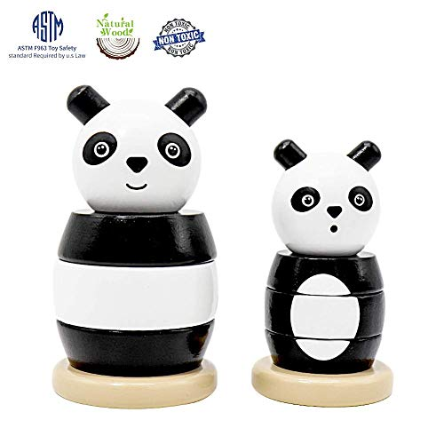 Scootive Lovely Panda Toys for Boys and Girls,Wooden Stacker Toy for Baby Learning Toys for 1 2 3 Year Old Toys Best Gifts