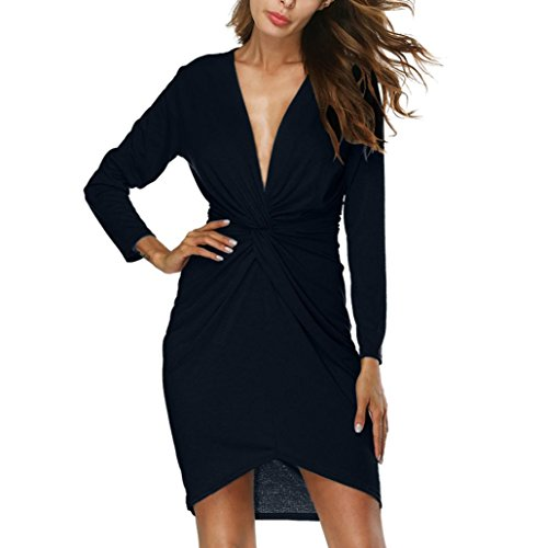 Gallity clearance Womens Deep V-Neck Dress Tie Knot Pure Color Long Sleeves Bodycon Buttocks Mini Dress (L, Black)