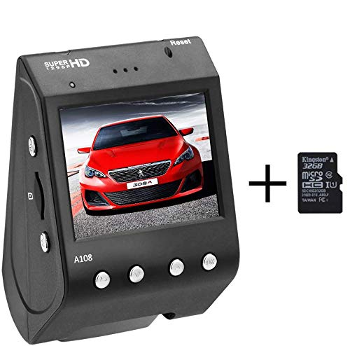 Dash Cam 1296P FHD Ultra HD 2 Inches LCD Screen Car Recorder 170 Degree Wide Angle 6-Lane Lens Dashboard Camera Loop Recording Motion Detection Video Images Monitor with 32GB Card