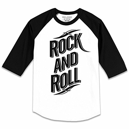 Pins & Bones Men's Rock n Roll Rock n Play Music Theme XLarge Baseball T-Shirt