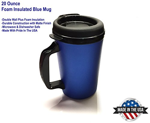 20 oz ThermoServ Foam Insulated Coffee Mug- Pearl Dark Blue ()