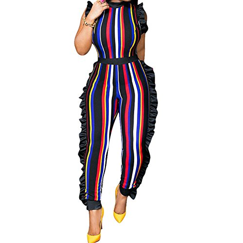 (Women's Sleeveless Stripe Ruffle Bodycon Long Pants High Waist Party Jumpsuits Romper Plus Size Red Medium)