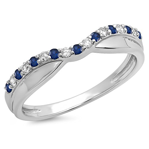 (dazzlingjewelrycollection 0.25 Carat (Ctw) 14K White Gold Over Sterling Silver Round Shaped Blue Sapphire & White Diamond Ladies Anniversary Wedding Stackable Contour Guard Band 1/4 CT)