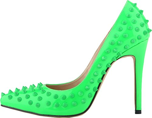 Salabobo Womens Sexy Pointed Toe Studded Pumps Green 0xXSq92F5