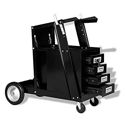 HomyDelight Tool Cabinet & Chest, Welding Cart with 4 Drawers Black