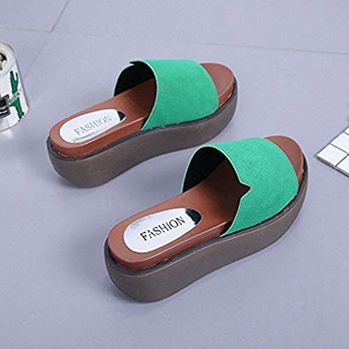 on Slip Green Slip Dress Beach Slippers Summer Toe JULY Women's Slides Anti Open Sandals Platform T Sanding Wedges 7Pwq1