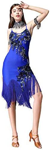 2018年女性の新しいラテンダンスの衣装大人のタッセルスパンコールラテン服四季 青 Medium
