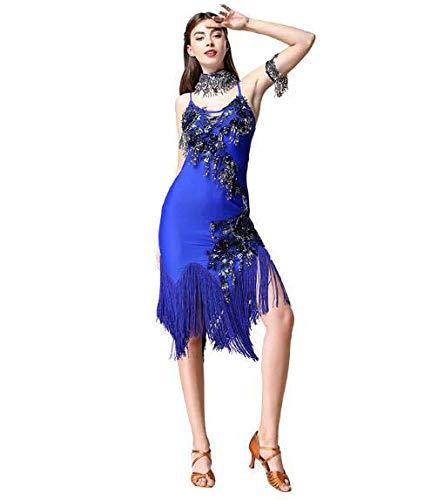 2018年女性の新しいラテンダンスの衣装大人のタッセルスパンコールラテン服四季 B07MNNJZKR Blue Medium