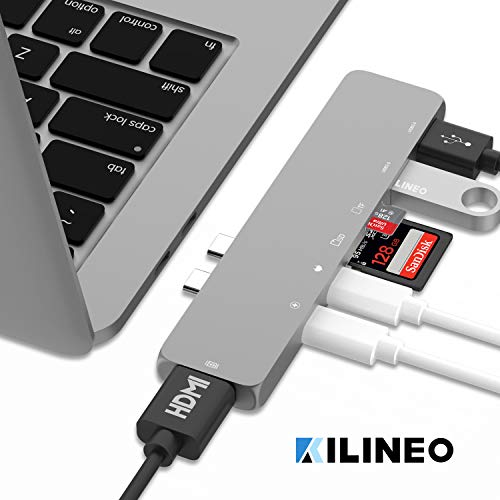 KILINEO USB C Hub, Aluminum 7-in-1 USB Type C Hub Adapter Dongle 100W Power Delivery, Compatible for 2016 2017 2018 MacBook Pro, 4K HDMI, Thunderbolt 3, USB-C, 2 USB 3.0 and MicroSD/SD Card Reader