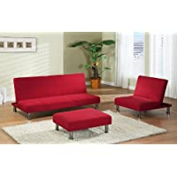 Kings Brand Red Fabric Klik-Klak Sofa Futon Bed Sleeper