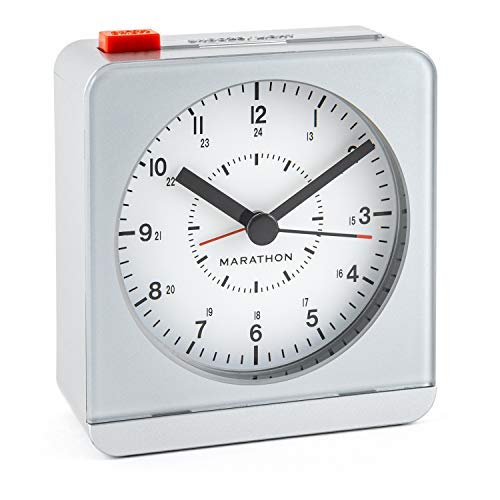 MARATHON CL030053SV Classic Silent Sweep Alarm Clock with Auto Night Light. Batteries Included