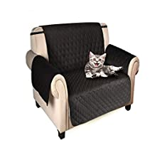 Sofa Slipcover- Anti Skidding Waterproof Sofa Couch Cover-Pet Dog Couch Slipcover (Armchair, Black)
