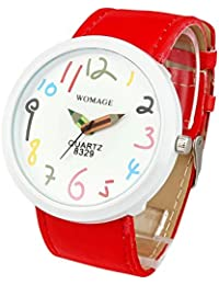 Womens Watch Red Leather Band Large Face Easy Read White Dial Reloj Para DAMA SW8329RDWH