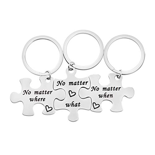 bobauna No Matter Where What When Puzzle Keychain Set of 2,3 Long Distance Gift for BFF Couple Sister (no Matter Where What When)
