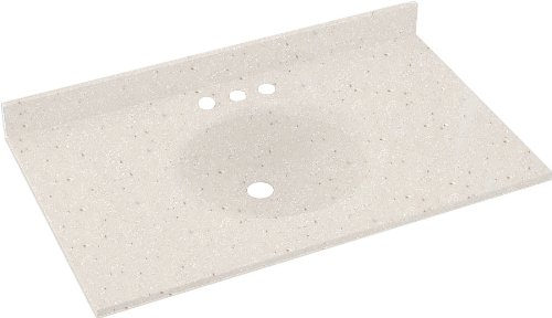 Swanstone VT1B1925-051 Ellipse Solid Surface Single-Bowl Vanity Top, 25-Inch by 19-Inch, Tahiti Sand (Sand Swanstone Vanity Top)