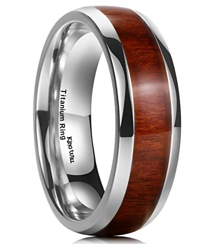 King Will Nature 7MM Titanium Ring Koa Wood Inlay Comfort Fit Wedding Band for Men Women 10 from King Will