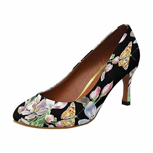 Interestprint Mujeres Classic Fashion High Heel Dress Bomba De Flores Y Mariposas