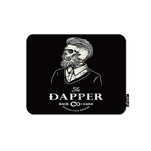 oFloral Hipster Mouse Pad Gaming Mouse Pad Male Skull Barber Shop Logo Retro Tattoo Print Decorative Mousepad Rubber Base Home Decor for Computers Laptop Office 7.9X9.5 Inch (Best Barber Shop Logos)