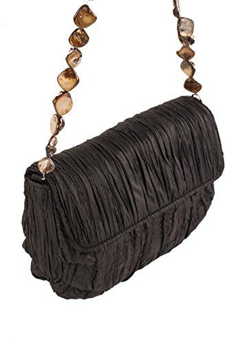 Rebecca Molenaar - borsetta sottospalla satin con decorazioni in madreperla - Nero