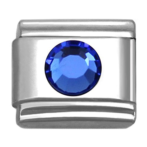 - SilverAndJewelry Italian Charms Round Birthstone by Month 9 mm Stainless Steel Bracelet Link (September)