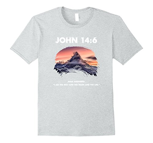 Mens Christian Snowcap Mountain Range T-Shirt #3 DOUBLE SIDED Large Heather Grey - Double Sided Mountain T-shirt