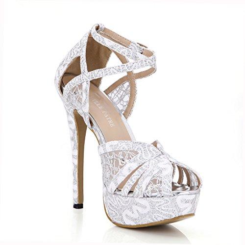 New Female sandals dinner dress wedding fine high-heel shoes waterproof desktop gold fish tip shoes Silver