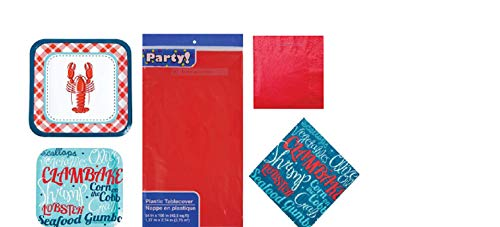 Nautical Seafood Clam Bake Crawfish Party Pack Includes Paper Dinner Plates, Dessert Plates, Dinner Napkins Beverage Napkins Table Cover Service for -