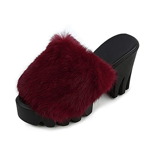 Womens Fluffy High Platform Slide Slippers Block Heels Fur Plush Casual Winter Warm Outside Slip On Creepers Wine Red ()