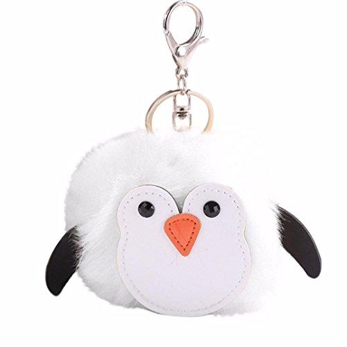 SGI(TM) 10CM Cute Penguins Keychain Pendant Women Key Ring Holder Pompoms Key Chains (White, (Penguin Key)