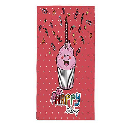 Birthday Decorations Soft Tablecloth,Pink Strawberry Cupcake with Candle Cute Face Confetti Bow Tie Dots for Buffet Table Parties Holiday Dinner Wedding & More,24''W X 48''L