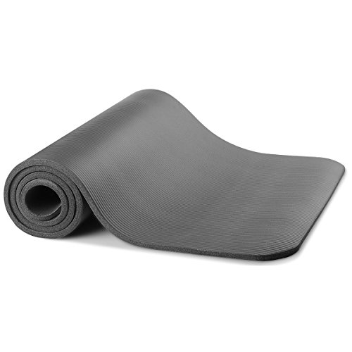 Non-Slip Exercise Yoga Mat All Purpose 1/2-Inch Extra Thick Comfort Foam High Density Yoga and Pilates Exercise Eco Friendly and Non Toxic (Gray) - Comfort Foam Mat