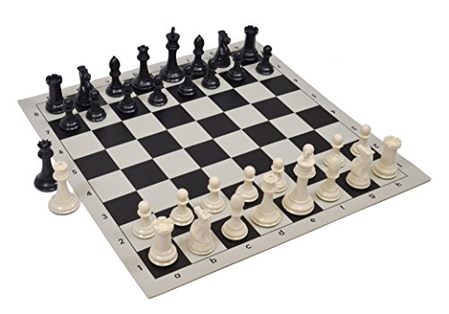 Wholesale Chess Quadruple Weighted Chess Pieces and Vinyl Board -Ivory/Black Pieces - Black Board