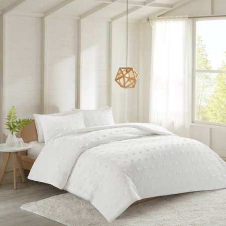 Better Homes and Gardens Woven Dot Tufts 3-Piece Comforter Set, Modern Charming and Simplistic Design, Adorable for any Room in the Home! Pairs with any Decor! 100% Soft Cotton! (King, White)