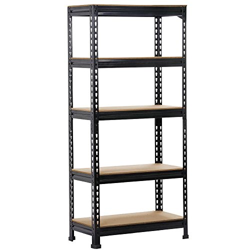 Yaheetech Black Adjustable 5-Shelf Shelving Unit Storage Rack Utility Rack Garage Shelves Display Rack Steel Boltless Rivet Rack,59.1 inch Height (1-Pack)