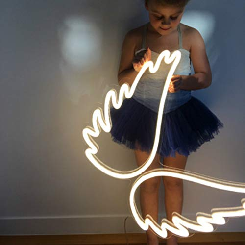 Angel Wing Lamp Neon Light Sign Wall Neon Light, LED Indoor Decor Night Lamps, Neon Light Sign Wedding Birthday Party Bedroom Table Gift Kids Toys Decor Decorations Valentines Christmas Gift ()