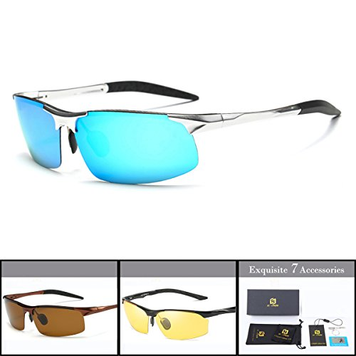 SZLINGKE Brand Polarized Sport Sunglasses Women Men Riding Cycling Sunglasses Aluminum Magnesium Frameless Semi-Rimless Sunglasses Fishing Driving Night Vision EyeGlasses (Silver & Blue) -