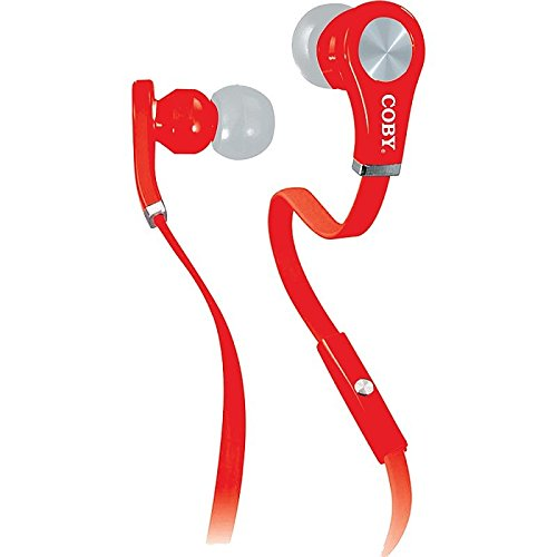 Coby CV-E103RD Tangle Free Stereo Earbuds with Mic CVE103 Red
