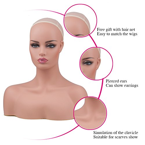 L7 Mannequin Female PVC Mannequin Head Bust with Shoulders for Wig Display