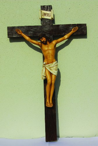 30.25 Inch Jesus on Crucifix Resin Religious Wall Statue Figurine