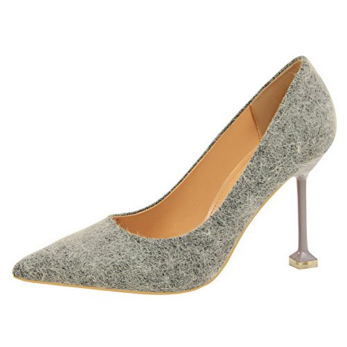 On High AmoonyFashion Toe Shoes Suede Heels Pointed Womens Pumps Gray Imitated Pull qqtgHO8x