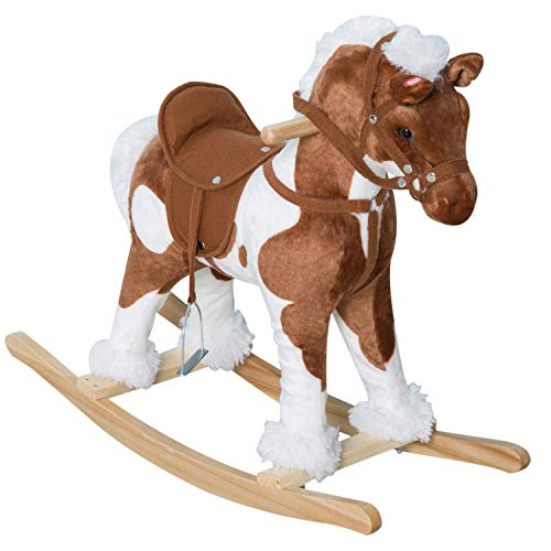 Brown Rocking Horse - Qaba Kids Metal Plush Ride-On Rocking Horse Chair Toy with Nursery Rhyme Music - Light Brown / White