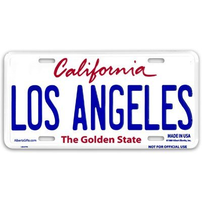 Souvenir Wall Plate (Los Angeles Novelty License Plate Souvenir of California)
