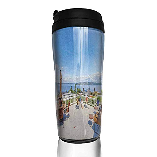 coffee cups set of Landscape,White Ancient House Terrace Balcony for Sunbathing Relaxing Sea Ocean Scenery, Multicolor 12 oz,cup for ice coffee