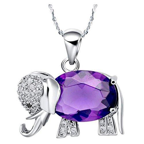Swarovski Elephant Necklace - Elephant Necklace Sterling Silver Plated Purple Swarovski Elements Crystal Necklace Pendant for Women